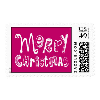 Merry Christmas - white Text Design Postage
