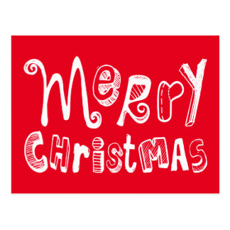 Merry Christmas - white Text Design Postcard