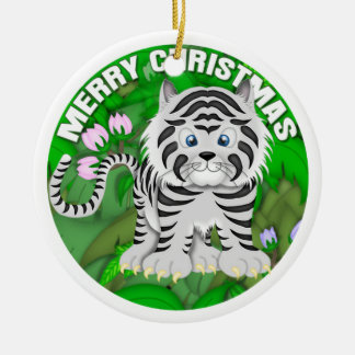 Merry Christmas White Tiger Ceramic Ornament