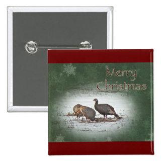 Merry Christmas Wild Turkey Pinback Button