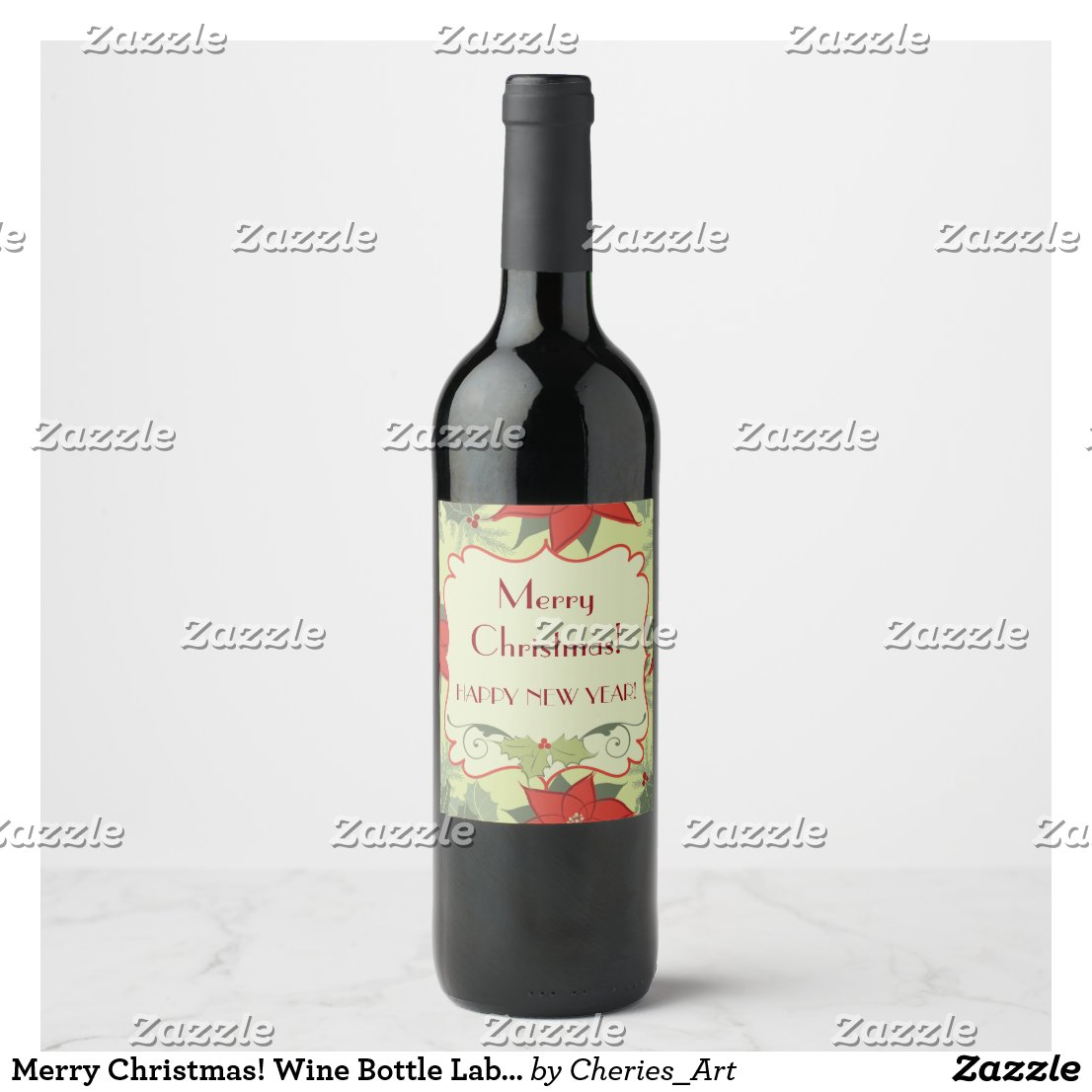 Merry Christmas! Wine Bottle Labels, Poinsettias Wine Label
