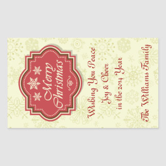 Merry Christmas Wine Label Gift Tag Rectangular Stickers