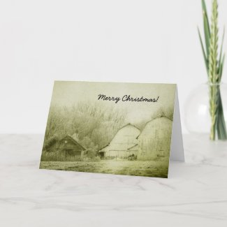 Merry Christmas, Winter Barns Vintage Look Card