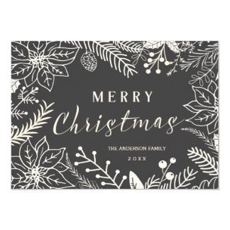 MERRY CHRISTMAS WINTER FOLIAGE CHALKBOARD PHOTO 5X7 PAPER INVITATION CARD
