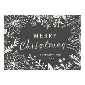 MERRY CHRISTMAS WINTER FOLIAGE CHALKBOARD PHOTO CARD