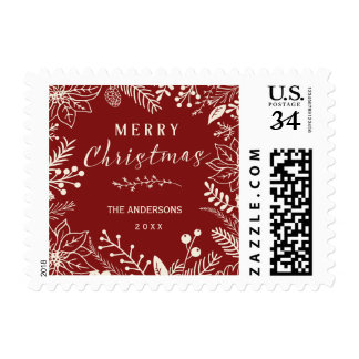 MERRY CHRISTMAS WINTER FOLIAGE RED POSTCARD POSTAGE