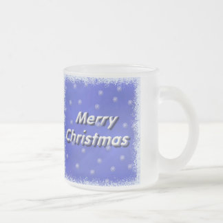 Merry Christmas Winter Frosted Glass Coffee Mug