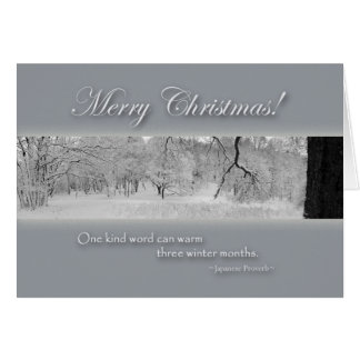 Merry Christmas, Winter Landscape with Quote Greeting Card