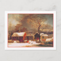 Merry Christmas Winter Scene by Durrie Holiday Postcard