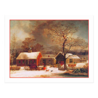 Merry Christmas Winter Scene by Durrie Postcard
