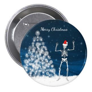 """Merry Christmas"" winter scene & skeleton Button"