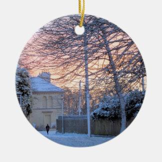 Merry Christmas - Winter Snow Ceramic Ornament