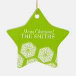 Merry Christmas Winter Snowflakes Lime Green Ornament
