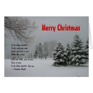 Merry Christmas-Winter Snowy Landscape/with Quote Greeting Cards