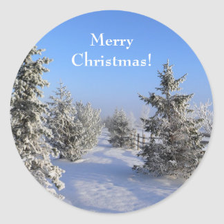 Merry Christmas Winter Trees Stickers