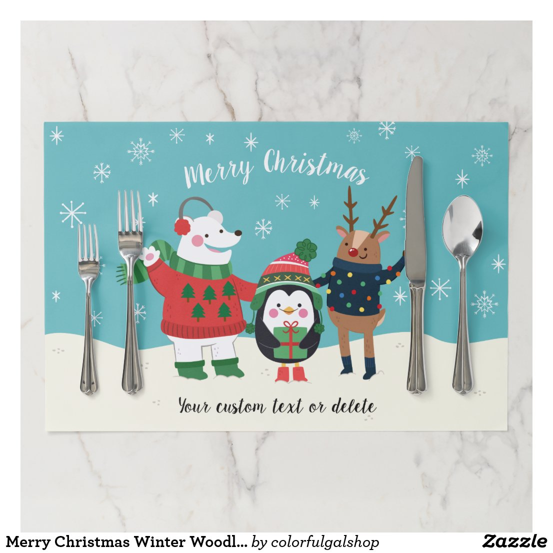 Merry Christmas Winter Woodland Animals Custom Paper Placemat