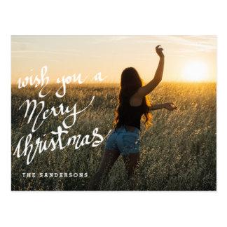 Merry Christmas Wishes Script Modern Photo Postcard