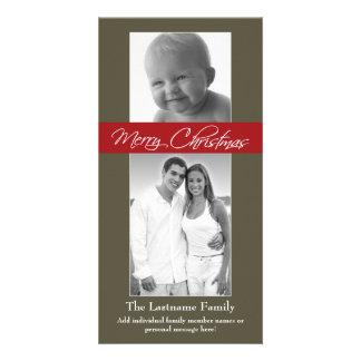 Merry Christmas with 2 photos - vertical Card