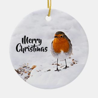 Merry Christmas with a cute red Robin in snow Ceramic Ornament