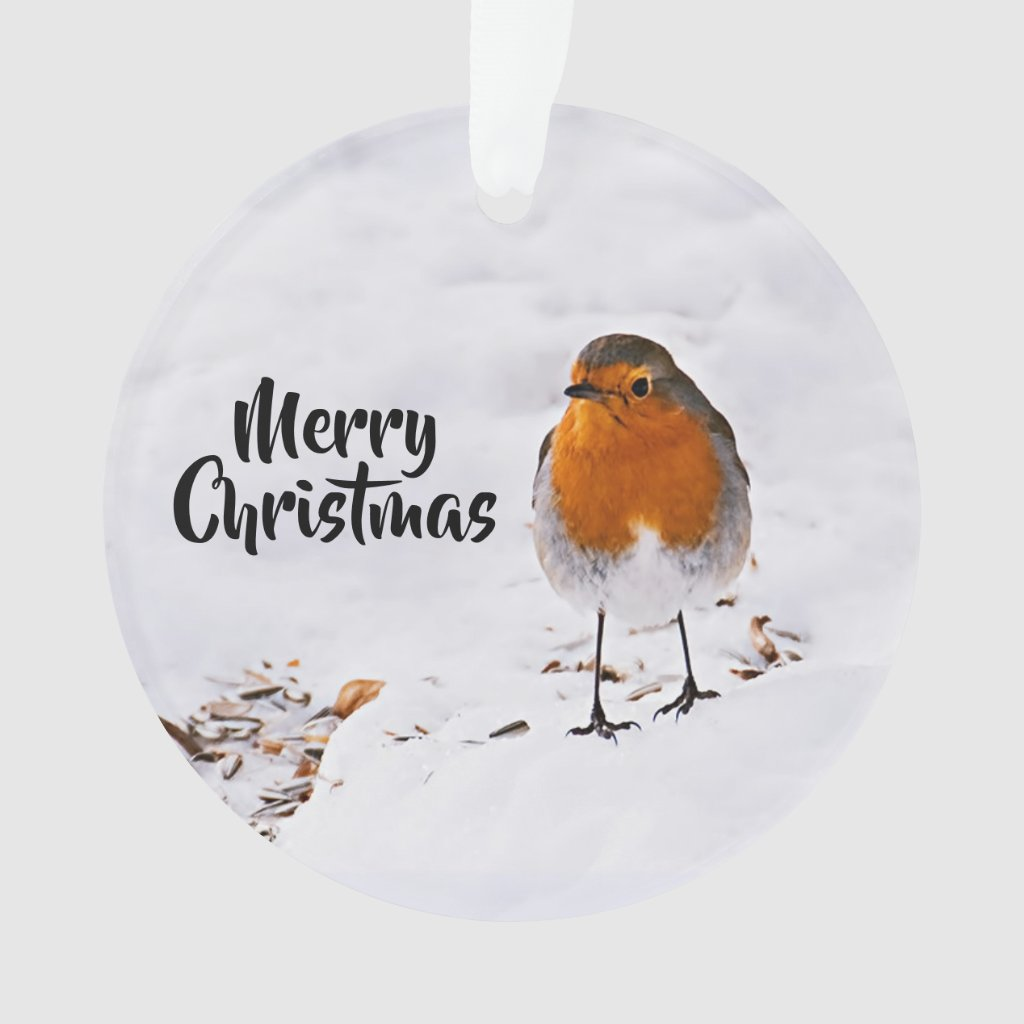 Merry Christmas with a cute red Robin in snow Ornament