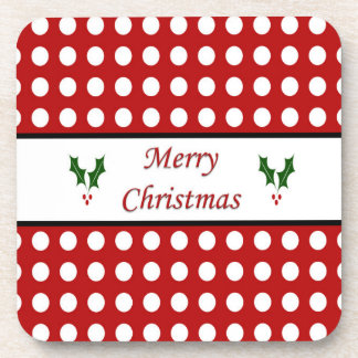 Merry Christmas with a Polka Dot pattern Coaster