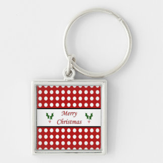 Merry Christmas with a Polka Dot pattern Keychain