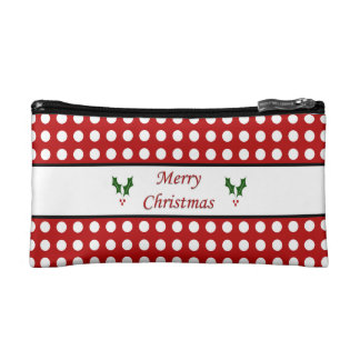 Merry Christmas with a Polka Dot pattern Makeup Bag