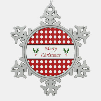 Merry Christmas with a Polka Dot pattern Snowflake Pewter Christmas Ornament