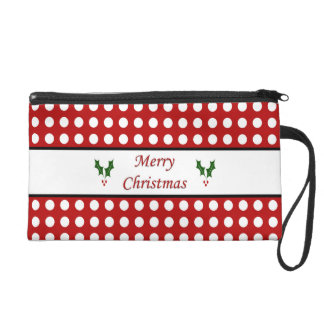 Merry Christmas with a Polka Dot pattern Wristlet Purse