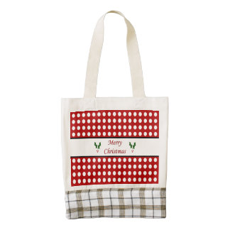 Merry Christmas with a Polka Dot pattern Zazzle HEART Tote Bag