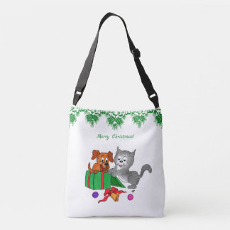 Merry Christmas with Cat and Dog Crossbody Bag