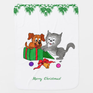 Merry Christmas with Cat and Dog Stroller Blanket