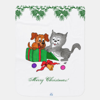 Merry Christmas with Cat and Dog Swaddle Blanket