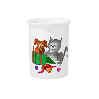 Merry Christmas with Cat and Puppy Beverage Pitcher