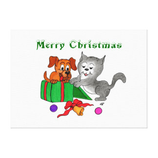 Merry Christmas with Cat and Puppy Canvas Print