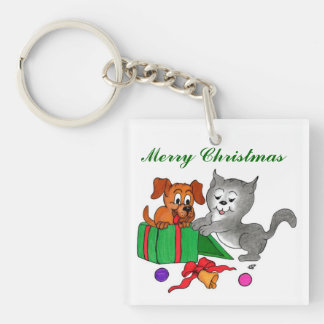 Merry Christmas with Cat and Puppy Keychain