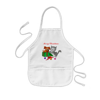 Merry Christmas with Cat and Puppy Kids' Apron