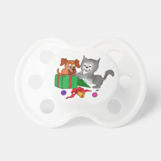 Merry Christmas with Cat and Puppy Pacifier