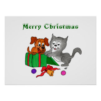 Merry Christmas with Cat and Puppy Poster