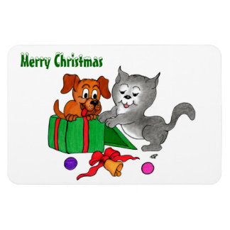 Merry Christmas with Cat and Puppy Flexible Magnets