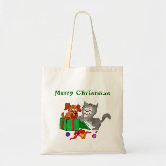 Merry Christmas with Cat and Puppy Tote Bag