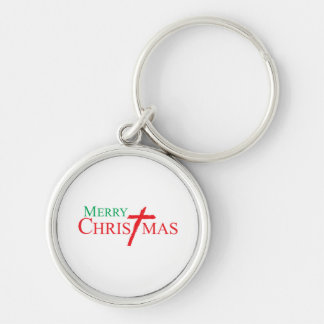 Merry Christmas with Cross of Jesus Christ Buttons Key Chains