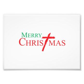 Merry Christmas with Cross of Jesus Christ Cards Art Photo