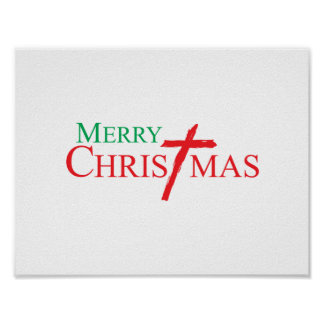 Merry Christmas with Cross of Jesus Christ Cards Posters