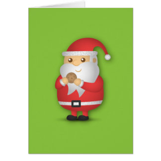 Merry Christmas with Cute and Jovial Santa Greeting Card