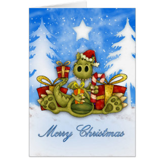 Merry Christmas With Cute Dragon Eating Candy Cane Card