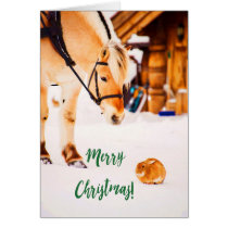 Merry Christmas with cute horse and rabbit in snow Card