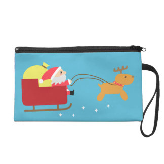 Merry Christmas with Cute Santa and Reindeer Wristlet Purse