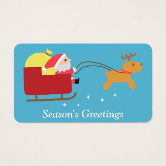 Merry Christmas with Cute Santa and Reindeer Business Card