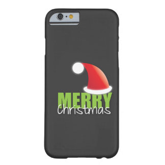 MERRY Christmas with cute santa hat iPhone 6 Case